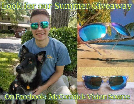 Boy with dog, sunglasses - giveaway, eye doctor, Round Rock, TX